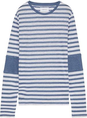 Current/Elliott The Hallan Striped Slub Linen-jersey Top