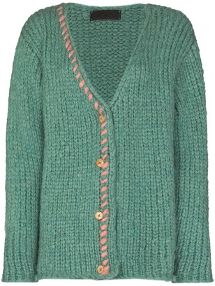 The Elder Statesman Fuzz chunky-knit cardigan