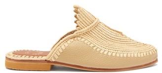 Kilometre Paris - Raffia And Leather Backless Loafers - Tan