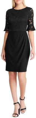 Chaps Ruffled-Cuff Lace-Jersey Dress
