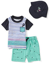 Baby Starters Baby Boys 3-12 Months Striped Short-Sleeve Tee, Printed Shorts, & Palm Tree Hat Set
