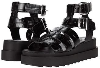 Steve Madden Zeeta Gladiator Sandal (Black Croco) Women's Shoes