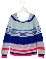 Little Marc Jacobs Girls' Metallic-Accented Striped Sweater