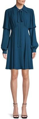 Michael Kors Long-Sleeve Silk Dress