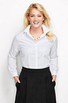 Classic Women's Jacquard White Plaid Dress Shirt-White