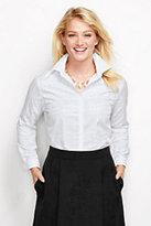 Lands' End Women's Jacquard White Plaid Dress Shirt-Walnut Heather Jacquard
