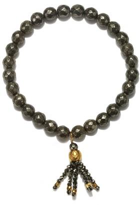 Satya Jewelry Pyrite Gold Plate Lotus Bead Tassel Stretch Bracelet