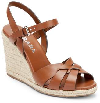 Prada Leather Espadrille Wedge Sandals
