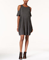 Kensie Cold-Shoulder Draped French-Terry Dress