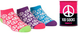 Trumpette Fuchsia & Purple Peace Sign Tin Can Three-Pair Socks Set