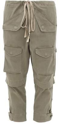 Greg Lauren Tie-waist Stretch-cotton Cargo Trousers - Mens - Green