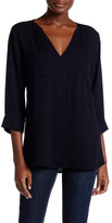 Allen Allen 3/4 Length Sleeve Split Neck Blouse