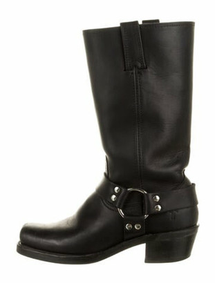 Frye Leather Moto Boots Black