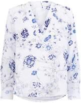 120% Lino Floral V-Neck Blouse