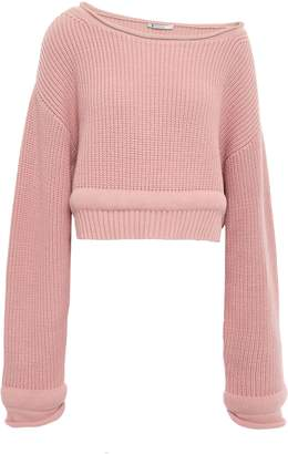 Alexander Wang Candy Cropped Ribbed Cotton-blend Sweater