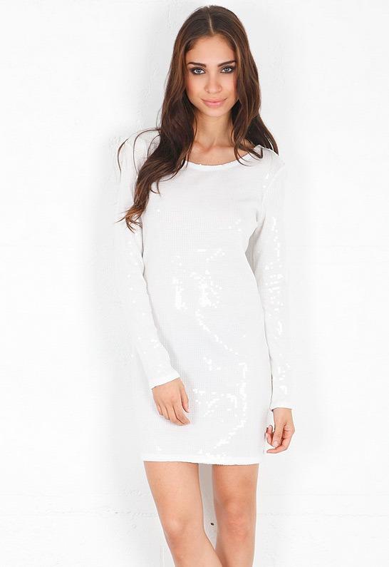 Haute Hippie Long Sleeve Embellished Mini Dress in Swan