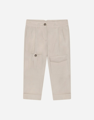 Dolce & Gabbana Cotton Pants With Buttons With Crown Crest