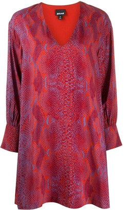 Just Cavalli Snakeskin Print Flared Dress