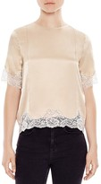 Sandro Twiggy Lace-Trimmed Silk Top