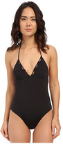 Shoshanna Black Solid Scallop One-Piece