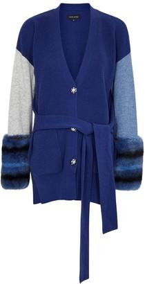 Izaak Azanei Blue Fur-trimmed Wool And Cashmere-blend Cardigan