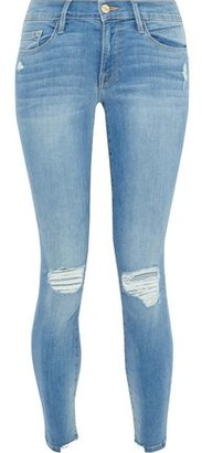 Frame Le Skinny De Jeanne Cropped Distressed Low-rise Skinny Jeans