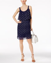 NY Collection Dot-Print Pleated Popover Dress