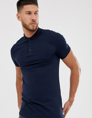 Asos Design DESIGN muscle fit longline polo in navy
