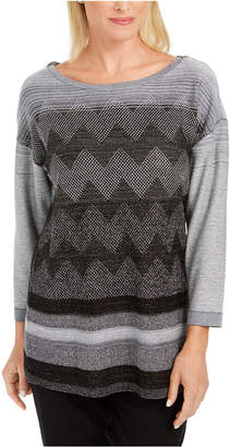 JM Collection Metallic-Stitched Drop-Shoulder Sweater