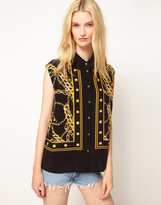 Diem Sleeveless Shirt in Placement Chain Print
