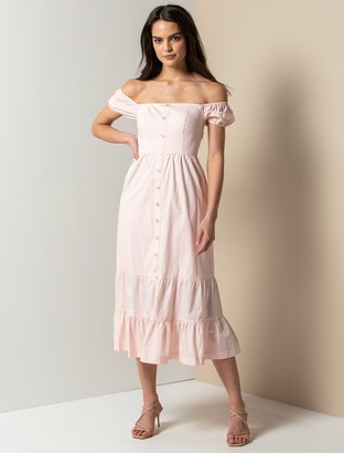 Forever New Angie Cotton Bardot Midi Dress - Pink Oyster - 14
