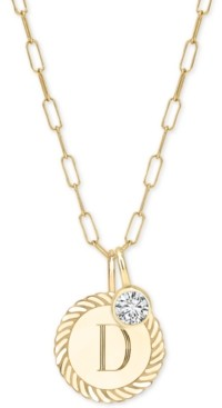 """Sarah Chloe Alara Initial Charm Long Pendant Necklace in 14k Gold-Plate Over Sterling Silver, 36"""" + 2"""" extender"""