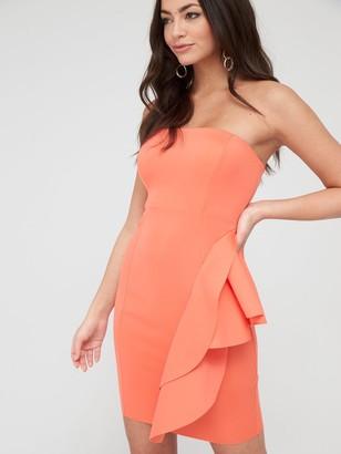 River Island Bandeau Bodycon Mini Dress - Coral