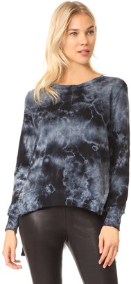 Pam & Gela Women's Tea Stain Tie Dye Side Slit Sweatshirt