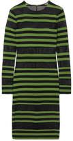 Norma Kamali Striped Stretch-jersey And Mesh Dress - Leaf green