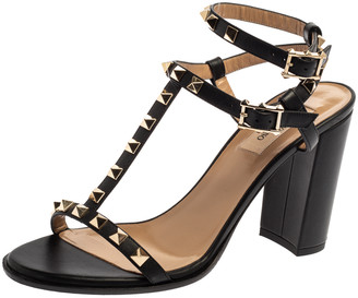Valentino Black Leather Rockstud Block Heel Strappy Sandals Size 38