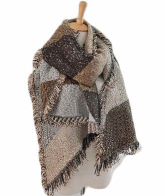 Hertsen Plaid Blanket Scarf Women Big Square Long Cashmere Winter Wool Blend Scarves Warm Tartan Checked Shawl (Grey 220-250x70cm)