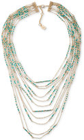 Lauren Ralph Lauren Gold-Tone Multi-Layer Blue Stone Statement Necklace