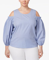 Soprano Trendy Plus Size Cotton Cold-Shoulder Top
