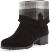 Charles by Charles David June Flannel-Cuff Suede Bootie, Black