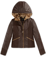 Jessica Simpson Mixed-Media Faux-Leather Jacket with Hood, Big Girls (7-16)