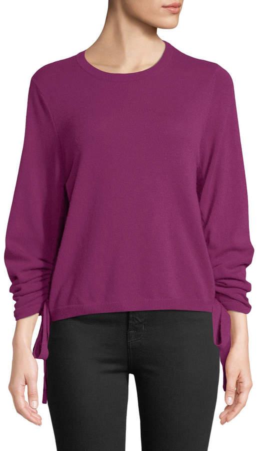 Autumn Cashmere Drawstring-Sleeve Crewneck Cashmere Sweater
