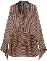 Petar Petrov Leather-trimmed Asymmetric Striped Silk-satin Blouse