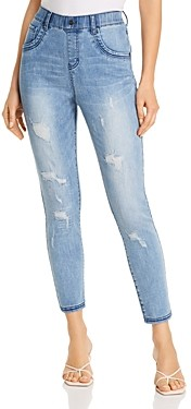 Hue Distressed Denim Leggings