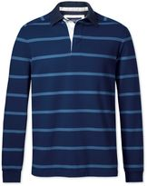 Charles Tyrwhitt Blue and Sky Blue Stripe Cotton Rugby Shirt Size XS
