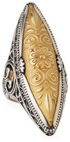 Konstantino Flower-Embossed 18K & Sterling Silver Marquis Ring, Size 7