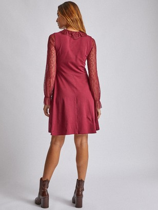 Dorothy Perkins Lace Collar Two-In-One Mini Dress - Red