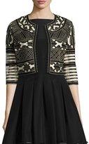 Lela Rose Ribbon-Embroidered Cropped Jacket, Black/White