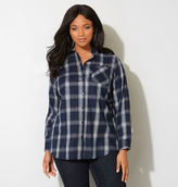 Avenue Navy Shimmer Plaid Popover Tunic