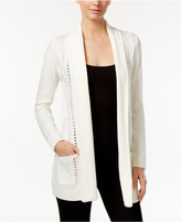 NY Collection Petite Cable-Knit Open-Front Cardigan